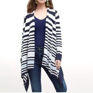 Anthropologie MOTH Striped Waterfall Tie Cardigan